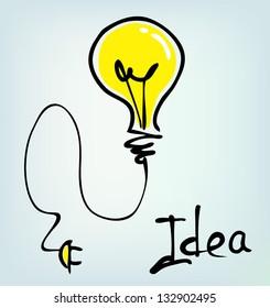 bulb hand drawn idea
