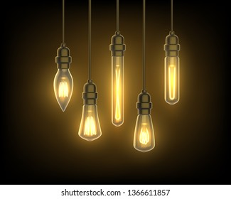 Bulb hanging from ceiling. Glowing lantern for room or interior design. Chandelier background or light bulb advertising. Energy and electricity, decoration, loft, lampshade theme