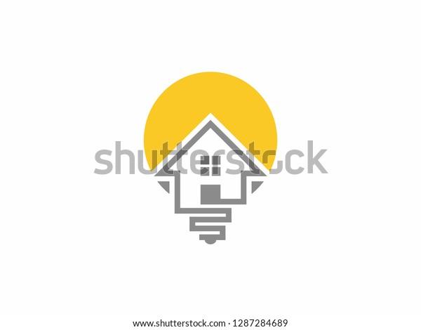 Bulb Home Logo Home Idea Logo Stock Vector Royalty Free