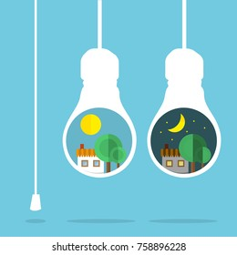 Bulb with house - graphic for business design, infographics, reports or workflow layout in flat style