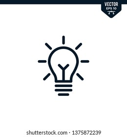 bulb icon collection in outlined or line art style, editable stroke vector