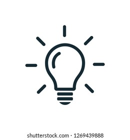 bulb icon, idea icon, lighting design vector