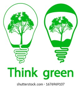 Bulb icons. Eco bulb idea. Creative Flat Bulbs with the tree inside, isolated on white background. Think green. Creative ideas, solution symbol. Ecological energy concept in green color. Vector