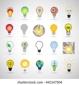 Bulb Icons Set - Isolated On Gray Background. Vector Illustration, Graphic Design.