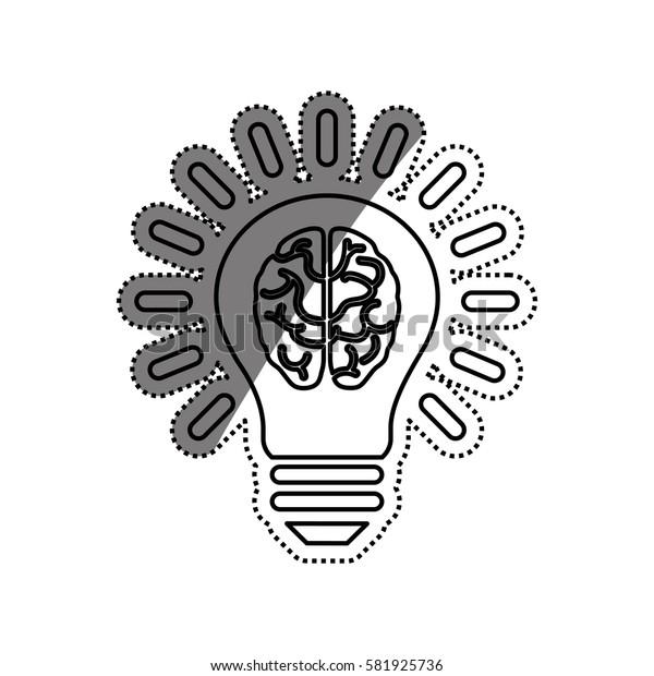 Bulb idea and human brain icon vector illustration graphic design