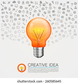 Bulb idea with icons on the background. Vector illustration