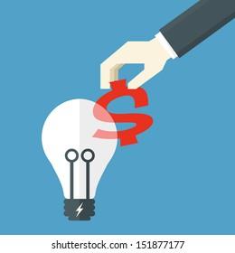 bulb idea and money, vector