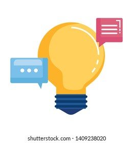 bulb idea think with speech bubbles