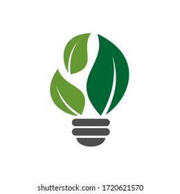 Bulb lamp with leaves nature logo