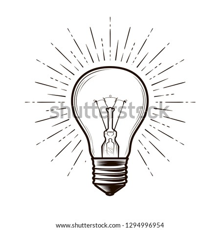 Bulb Lamp Sketch Electricity Electric Light Stock Vector Royalty