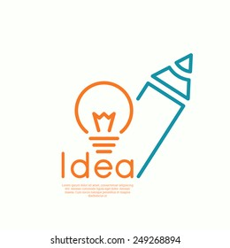 Bulb light idea and pencil. concept  of ideas inspiration innovation, invention, effective thinking.