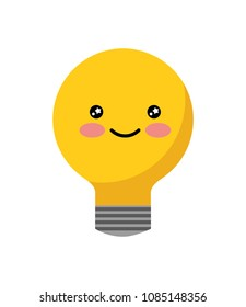 bulb light idea with smile kawaii character