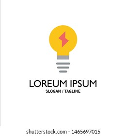 Bulb, Light, Power Business Logo Template. Flat Color. Vector Icon Template background