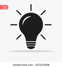 Bulb light vector icon. Lighting Electric lamp. Electricity, shine. Light Bulb icon vector, isolated on background. Bulb light icon - Idea sign, solution. Bulb light symbol Energy - Vector