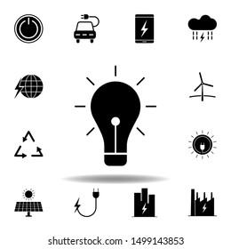 bulb, lightning, energy icon . Set of alternative energy illustrations icons. Can be used for web, logo, mobile app, UI, UX