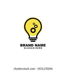 Bulb, Machine, gear logo Design inspiration