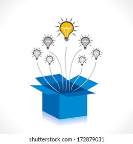 bulb out of the box concept vector