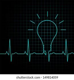 bulb pulse idea heart beat, illustration eps 10 vector