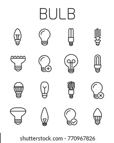 Bulb related vector icon set. Well-crafted sign in thin line style with editable stroke. Vector symbols isolated on a white background. Simple pictograms.