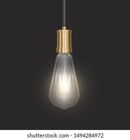 The bulb in retro style on dark substrate, glowing light bulb in realistic style Vector EPS 10 format illustration