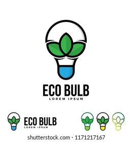Bulb with three leaf logo illustration.