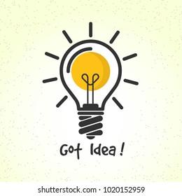 Bulb vector illustration, idea symbol,   eps 10 vector