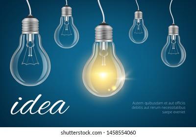 Bulbs idea background. Realistic lamp bulbs vector illustration. Isolated lamp bulb idea, power electric lightbulb