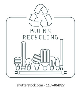 Bulbs recycling icons set with lettering. Linear style vector illustration. EPS10