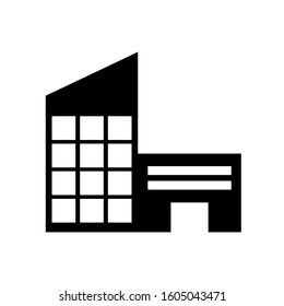 Bulding icon. Ikon of Tower, apartments office in black color.