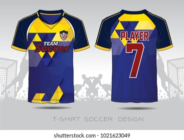 Bule and yellow layout football sport t-shirt design. Template front, back view. Soccer kit national team shirt mock up. Vector Illustration.