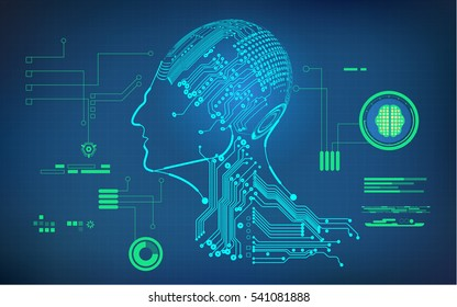 buleprint of A.I. invention, electronic robot brain diagram ; cyborg in electronic bord style