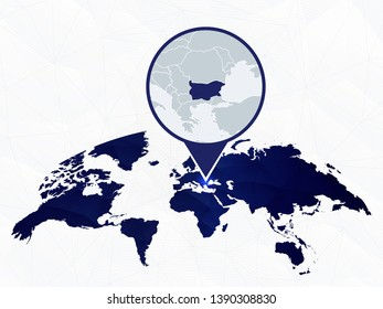 Bulgaria detailed map highlighted on blue rounded World Map. Map of Bulgaria in circle.