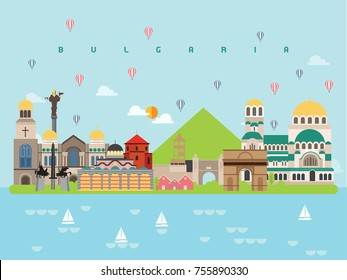 Bulgaria Famous Landmarks Infographic Templates for Traveling Minimal Style and Icon, Symbol Set Vector Illustration Can be use for Poster Travel book, Postcard, Billboard.