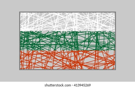 Bulgaria flag design concept. Flag painted by pencil strokes. Image relative to travel and politic themes