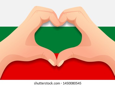 Bulgaria flag and hand heart shape. Patriotic background. National flag of Bulgaria vector illustration