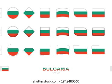 Bulgaria flag set, simple flags of Bulgaria with three different effects. Vector illustration.