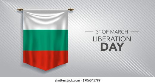 Bulgaria liberation day greeting card, banner, vector illustration. Bulgarian national day 3rd of March background with pennant