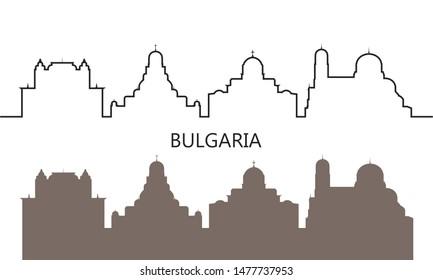 Bulgaria logo. Isolated Bulgarian architecture on white background