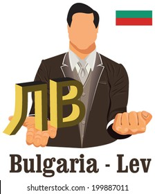 Bulgaria national currency Bulgarian lev symbol representing money and Flag. Vector design concept of businessman in suit with his open hand over with currency isolated on white background in EPS10.
