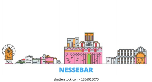 Bulgaria, Nessebar line cityscape, flat vector. Travel city landmark, oultine illustration, line world icons