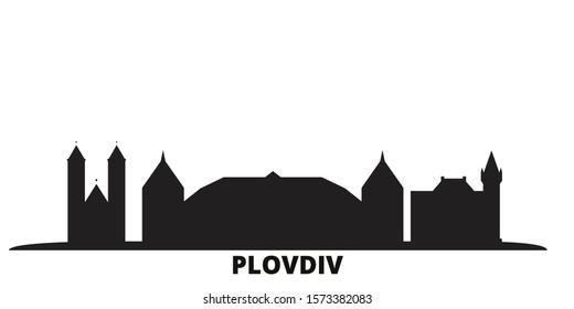 Bulgaria, Plovdiv city skyline isolated vector illustration. Bulgaria, Plovdiv travel black cityscape