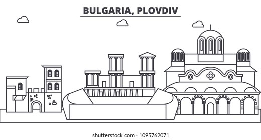 Bulgaria, Plovdiv line skyline vector illustration. Bulgaria, Plovdiv linear cityscape with famous landmarks, city sights, vector landscape.