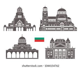 Bulgaria set. Isolated Bulgaria architecture on white background. EPS 10. Vector illustration