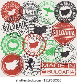Bulgaria Set of Stamps. Travel Passport Stamp. Made In Product. Design Seals Old Style Insignia. Icon Clip Art Vector.