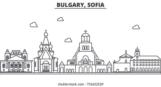 Bulgaria, Sofia architecture line skyline illustration. Linear vector cityscape with famous landmarks, city sights, design icons. Landscape wtih editable strokes
