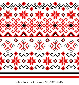 Bulgarian balkan national folklore embroidery style red, white and black ornamental seamless vector pattern