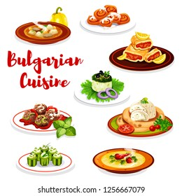 Bulgarian cuisine dishes with vegetable, meat and pastry dessert. Vector beef soup, meatball and cucumber stuffed with cheese bryndza, yogurt salad, eggplant pate, lemon cake roll and cinnamon bun