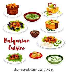 Bulgarian cuisine healthy food icon with vegetable and meat dish. Vegetable salad, fried pepper with cheese and bean beef stew, cucumber yogurt soup tarator, spinach soup, fruit cupcake and pie