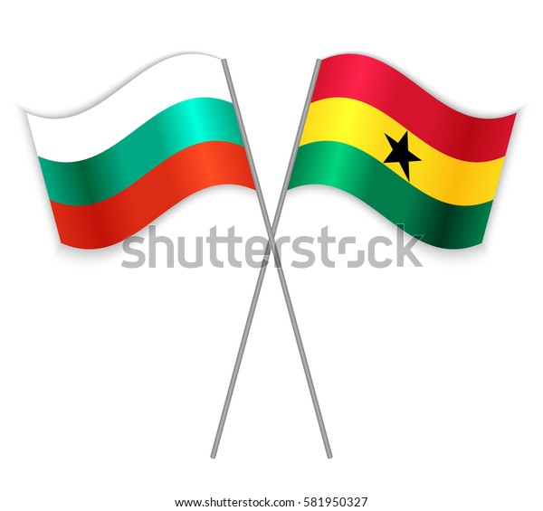 Bulgarian and Ghanaian crossed flags. Bulgaria combined with Ghana isolated on white. Language learning, international business or travel concept.