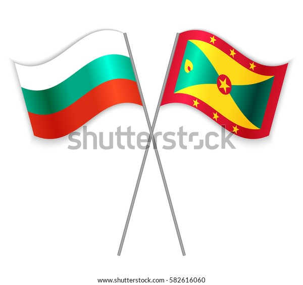 Bulgarian and Grenadian crossed flags. Bulgaria combined with Grenada isolated on white. Language learning, international business or travel concept.